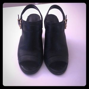 Cole Haan black leather stack heels size 5